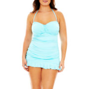 a.n.a® Draped Bandeau 1-Piece Swimdress - Plus