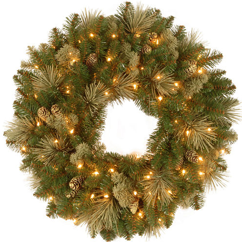 "National Tree Company® 24"" Carolina Pine Pre-Lit Wreath"