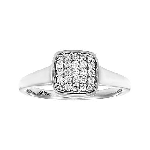 IN Love 1/4 CT. T.W. Diamond 10K White Gold Multi-Top Ring