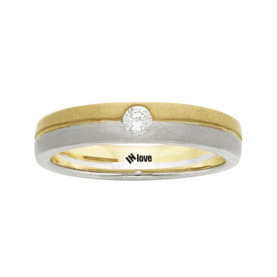 IN Love 1 10 CT TW Diamond 14K Two Tone Gold Wedding Band