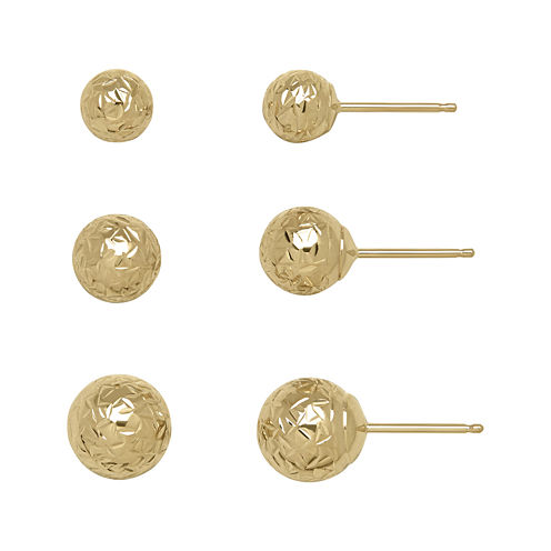 14K Yellow Gold Textured 3-pr. Ball Stud Earring Set