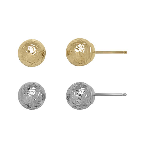 14K Two-Tone Gold Textured 2-pr. Ball Stud Earring Set