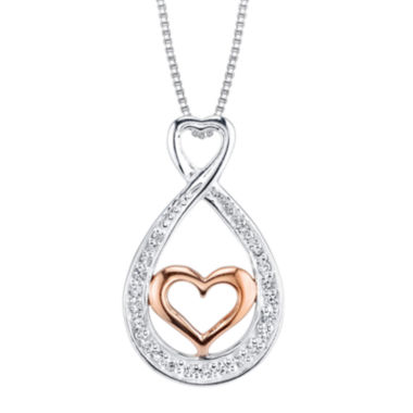 jcpenney.com | Inspired Moments™ Cubic Zirconia Sterling Silver Sisters Heart Teardrop Pendant Necklace