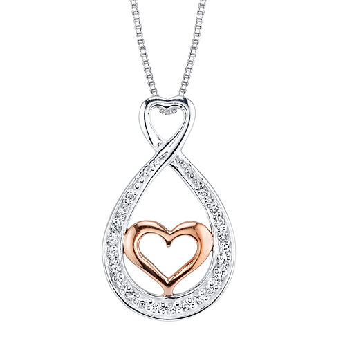 Inspired Moments™ Cubic Zirconia Sterling Silver Sisters Heart Teardrop Pendant Necklace