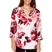 Liz Claiborne® 3/4-Sleeve V-Neck Popover Blouse - Petite