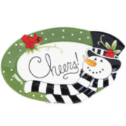 Fitz and Floyd® Frosty's Frolic Snowman Cheers Sentiment Serving Platter