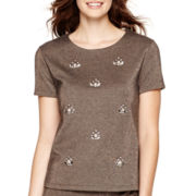 Liz Claiborne® Short-Sleeve Beaded Knit Top
