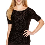 Liz Claiborne® Elbow-Sleeve Burnout Velvet Top