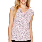 Liz Claiborne® Sleeveless Knit Cowlneck Top