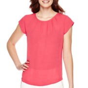 Liz Claiborne® Short-Sleeve Cherry Rose Shell