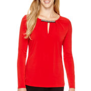 Liz Claiborne® Long-Sleeve Beaded-Neck Knit Top
