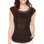 Liz Claiborne® Sleeveless Beaded-Neck Top