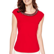 Liz Claiborne® Sleeveless Beaded-Neck Ponte Knit Top