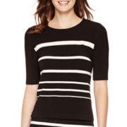 Liz Claiborne® Elbow-Sleeve Textured Striped Top - Tall