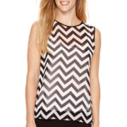 Liz Claiborne® Sleeveless Chevron Blouse