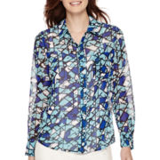 Liz Claiborne® Long-Sleeve Print Woven Blouse