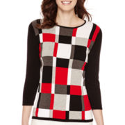 Liz Claiborne® 3/4-Sleeve Grid Sweater