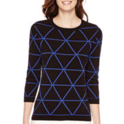 Liz Claiborne® 3/4-Sleeve Triangle Graphic Sweater