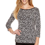 Liz Claiborne® 3/4-Sleeve Animal Print Knit Top