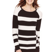 Liz Claiborne® Long-Sleeve Graphic Striped Sweater