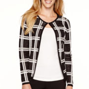 Liz Claiborne® Long-Sleeve Windowpane Sweater Jacket