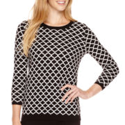 Liz Claiborne® 3/4-Sleeve Patterned Crewneck Sweater