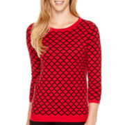 Liz Claiborne® 3/4-Sleeve Iconic Crewneck Sweater - Tall