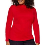 St. John's Bay® Long-Sleeve Mockneck Shirt - Plus