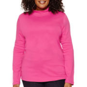 St. John's Bay® Long-Sleeve Mockneck Shirt - Plus