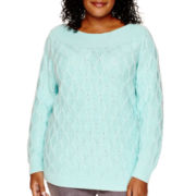 St. John's Bay® Long-Sleeve Boatneck Diamond Pattern Sweater - Plus