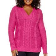 St. John's Bay® Long-Sleeve Crossover V-Neck Nep Sweater - Plus