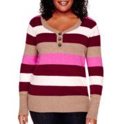 St. John's Bay® Long-Sleeve Mossy Henley Stripe Sweater - Plus