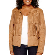 a.n.a® Faux-Suede Fringe Jacket - Plus
