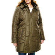KC Collections Bus Stop Puffer Coat - Plus