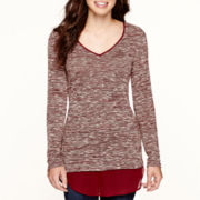 Liz Claiborne® Long-Sleeve V-Neck Layered Knit Sweater