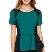 Worthington® Short-Sleeve Lace-Inset Peplum Blouse - Petite