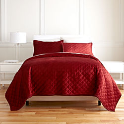 Royal Velvet® Palmetto Red Diamond 3-pc. Velvet Coverlet Set