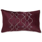 Royal Velvet® Dark Raisin Embroidered Oblong Decorative Pillow