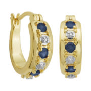 18K Gold Over Brass Sapphire & Diamond Accent Hoop Earrings