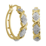 18K Gold Over Brass Diamond Accent XO Hoop Earrings