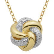 18K Gold Over Brass Diamond Accent Twist Knot Pendant