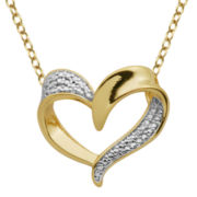 Classic Treasures™ 18K Gold Over Brass Diamond Accent Heart Pendant Necklace