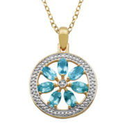 Sky Blue Topaz & Diamond Accent Flower Medallion Pendant