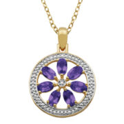 Classic Treasures™ African Amethyst & Diamond Accent Flower Medallion Pendant