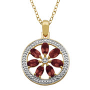 Garnet & Diamond Accent Flower Medallion Pendant Necklace