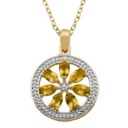Classic Treasures™ Citrine & Diamond Accent Flower Medallion Pendant Necklace