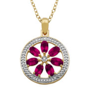 Lead Glass-Filled Ruby and Diamond-Accent Flower Medallion Pendant Necklace