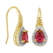 Lab-Created Ruby & Diamond Accent Pear Drop Earrings