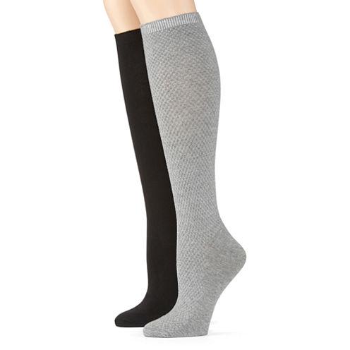 2-pk. Pebble-Stitch Knee-High Socks