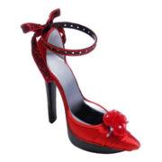 Red Satin Stiletto Shoe Ring & Earring Holder